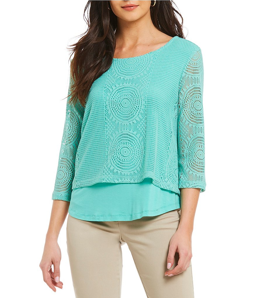 Multiples Petites Solid Open-Work Layered Top