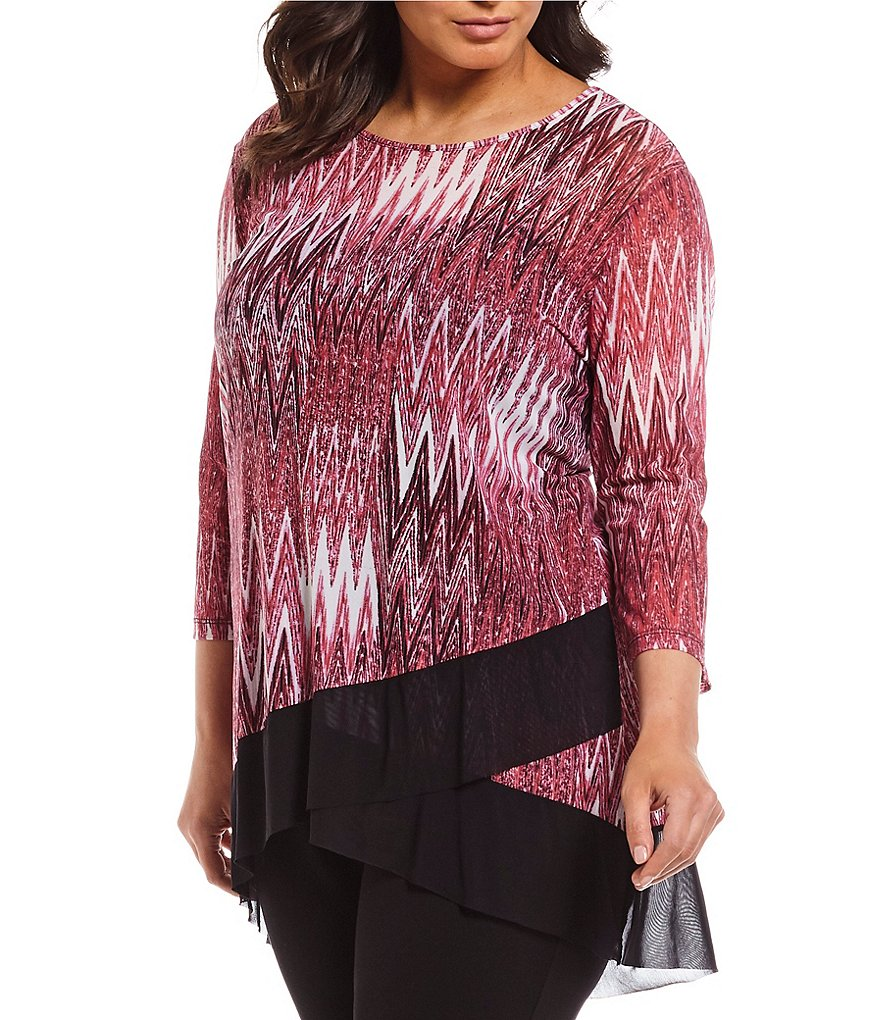 Multiples Plus 3/4 Sleeve Hi-Low Banded Hem Print Top
