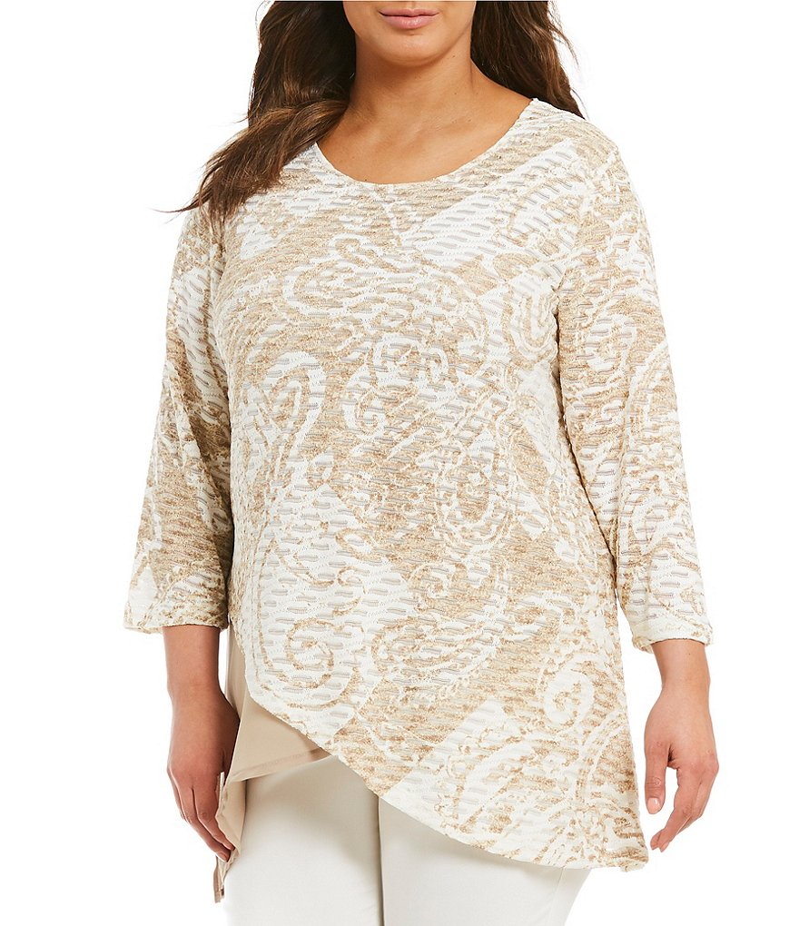Multiples Plus 3/4 Sleeve Layered Print Top