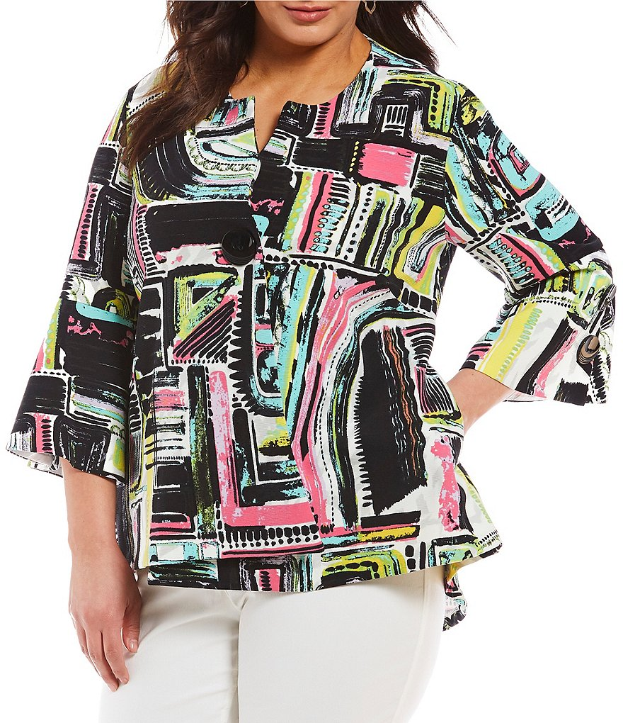 Multiples Plus Abstract Print Flounce Sleeve Jacket
