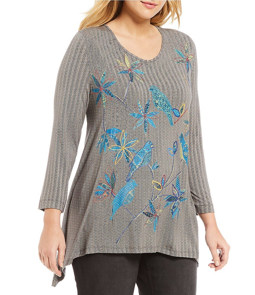 Multiples Plus V-Neck Herringbone 3/4 Sleeve Puff Print Top