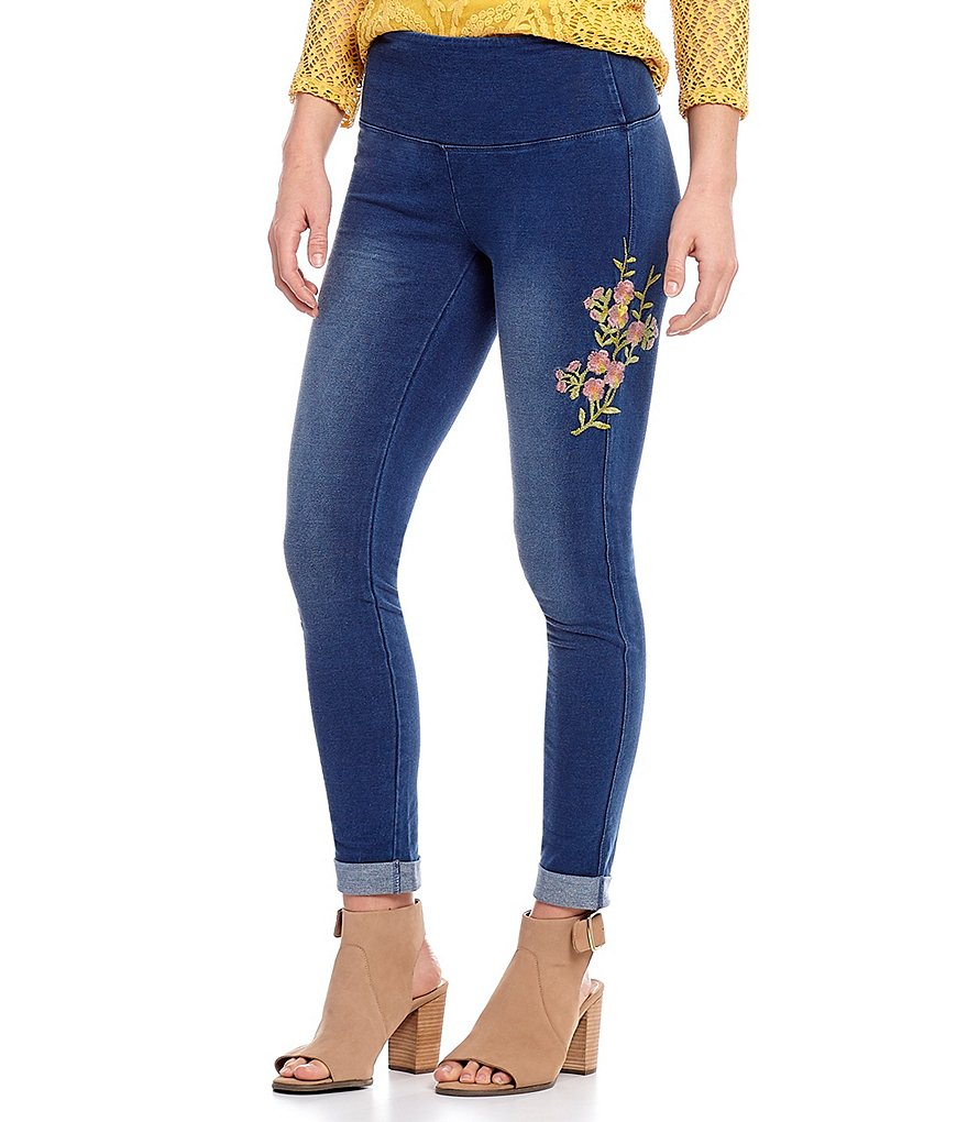 Multiples Pull-On Accent Floral Embroidered Knit Denim Leggings