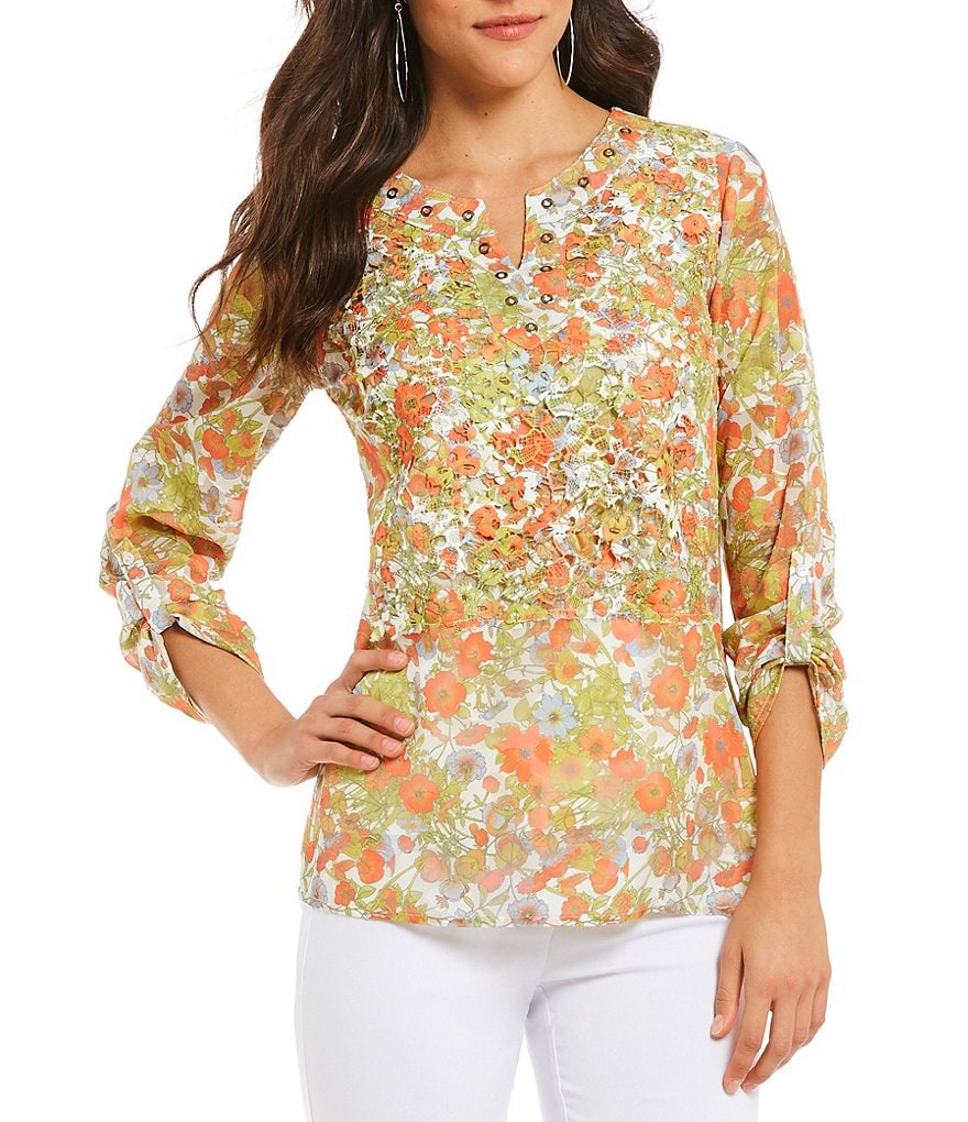 Multiples Roll-Tab Sleeve Print Lace Clip Jacquard Notch Neck Top