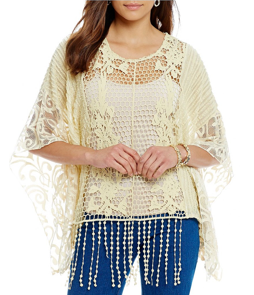 Multiples Scoop-Neck Fringe Hem 3/4 Sleeve Poncho Top