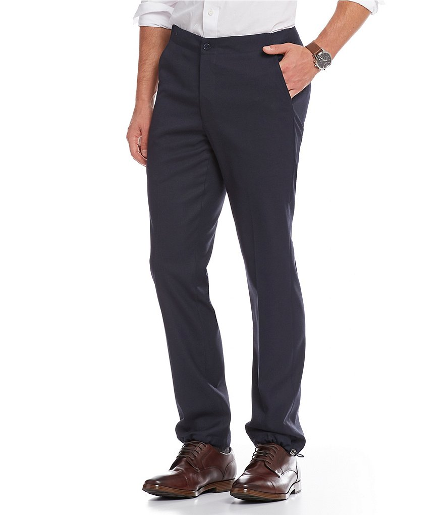 Murano Alex Modern Slim-Fit Flat-Front Drawcord Cuff Dress Pants