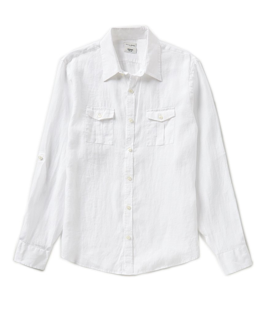 Murano Baird McNutt Rolled-Sleeve Slim-Fit Delave Linen Shirt