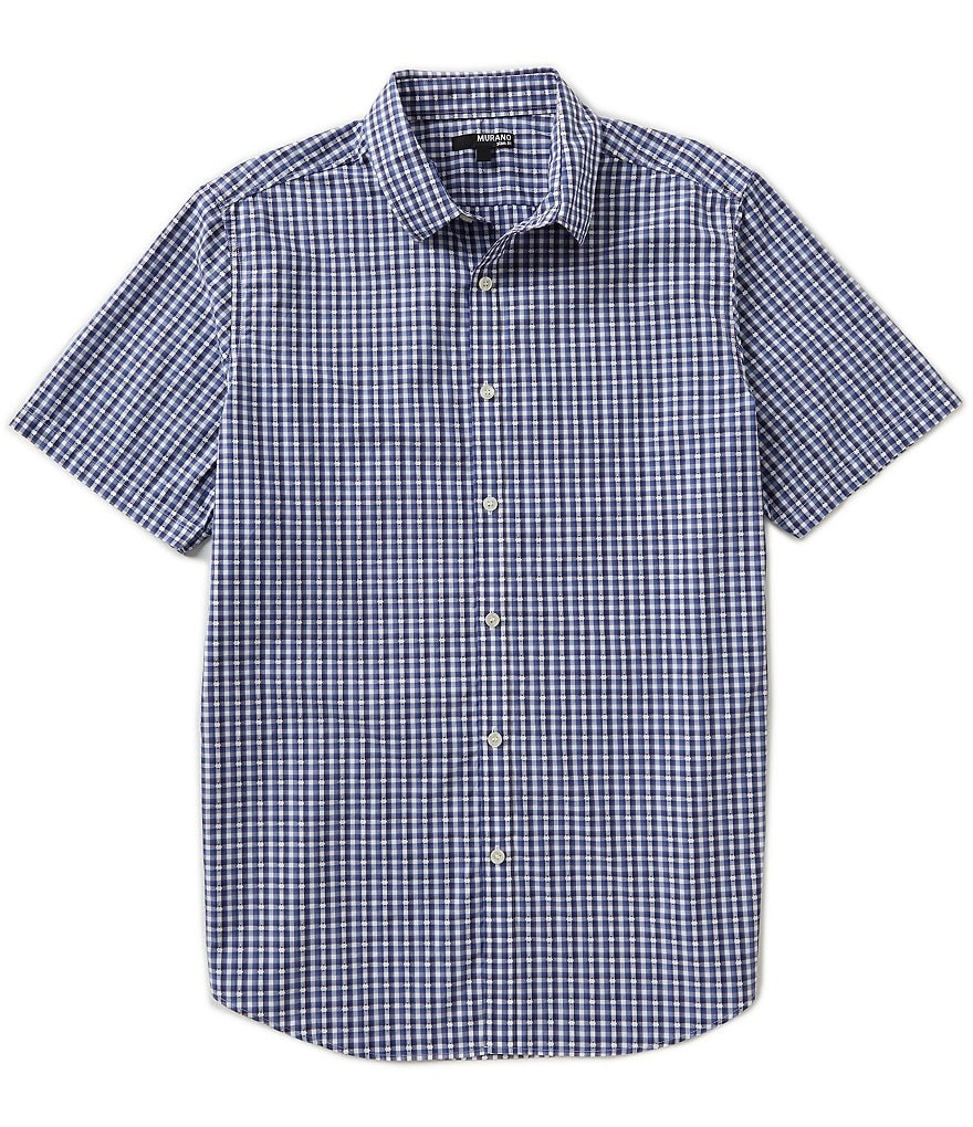 Murano Clipped Dobby Checked Print Short-Sleeve Slim-Fit Sportshirt