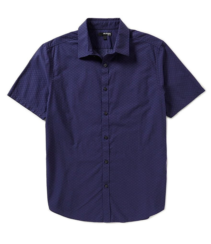Murano Clipped Dobby Short-Sleeve Slim-Fit Sportshirt