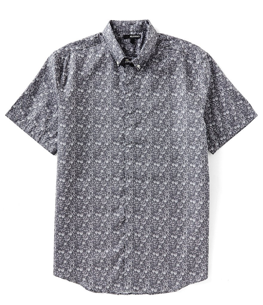 Murano Clouds Jacquard Short-Sleeve Woven Shirt