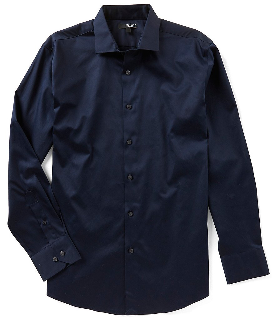 Murano Liquid Luxury Long Sleeve Solid Spread Collar Woven Shirt