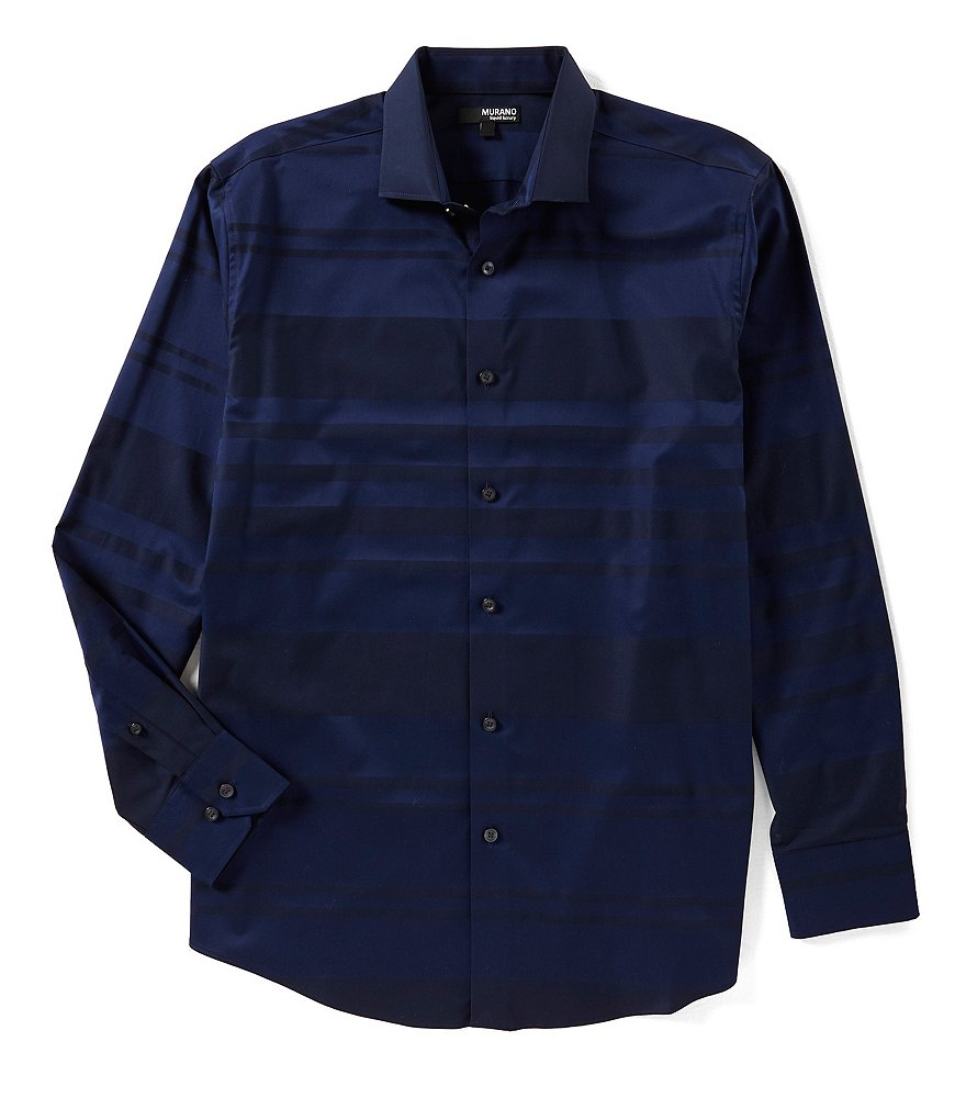 Murano Liquid Luxury Long Sleeve Stripe Spread Collar Woven Shirt