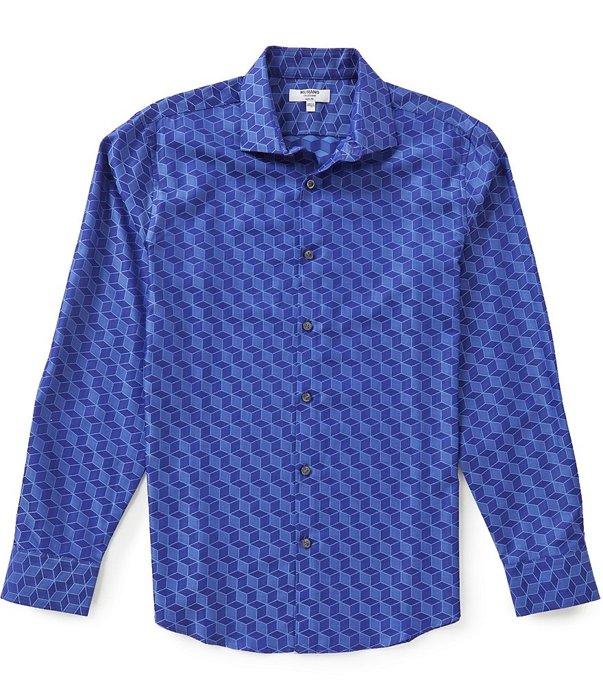 Murano Long-Sleeve Slim-Fit Cube Geometric Print Spread Collar Sportshirt