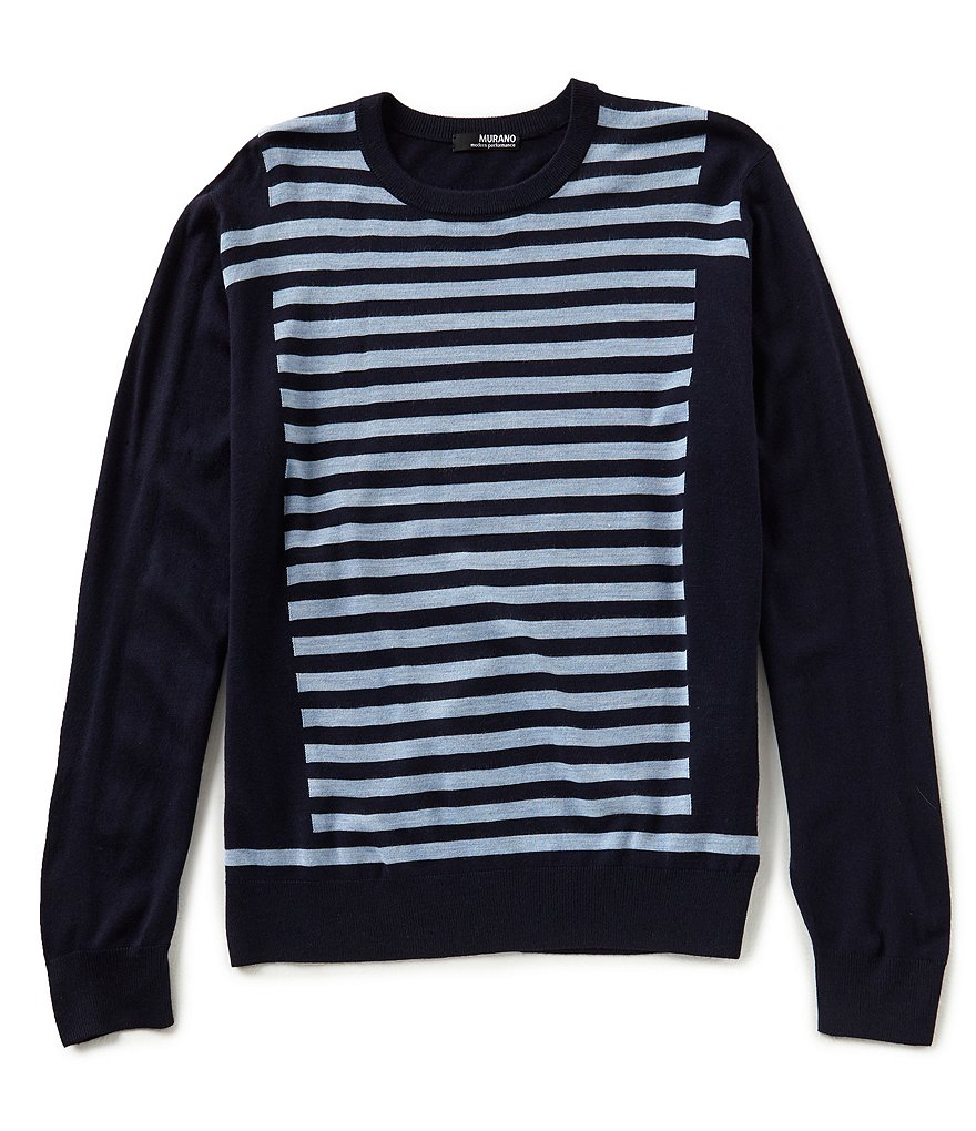 Murano Modern Performance Intarsia Stripe Crew Sweater