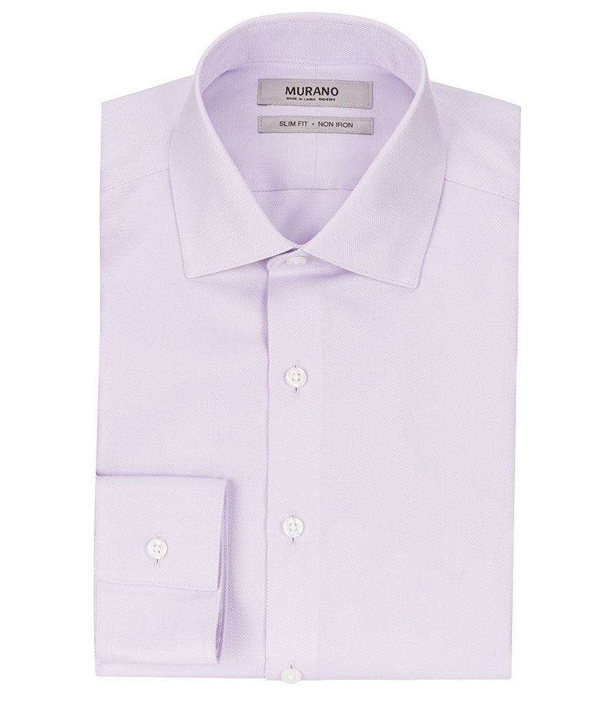 Murano non iron slim fit spread collar solid textured for No iron slim fit dress shirts