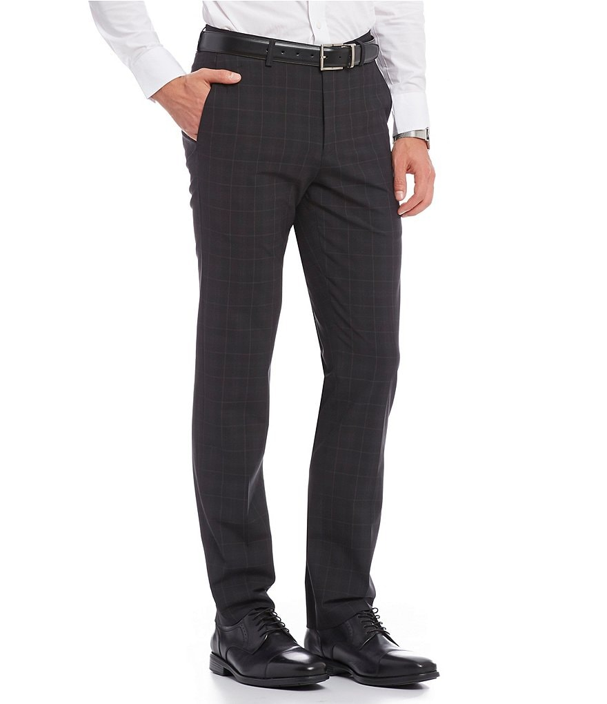Murano Performance Alex Modern Slim-Fit Flat-Front Bi-Stretch Check Pants