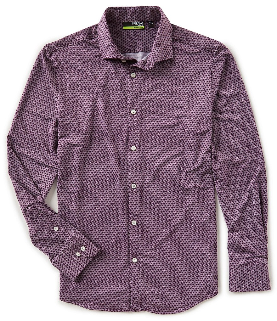 Murano Performance Slim Geo Print Knit Shirt