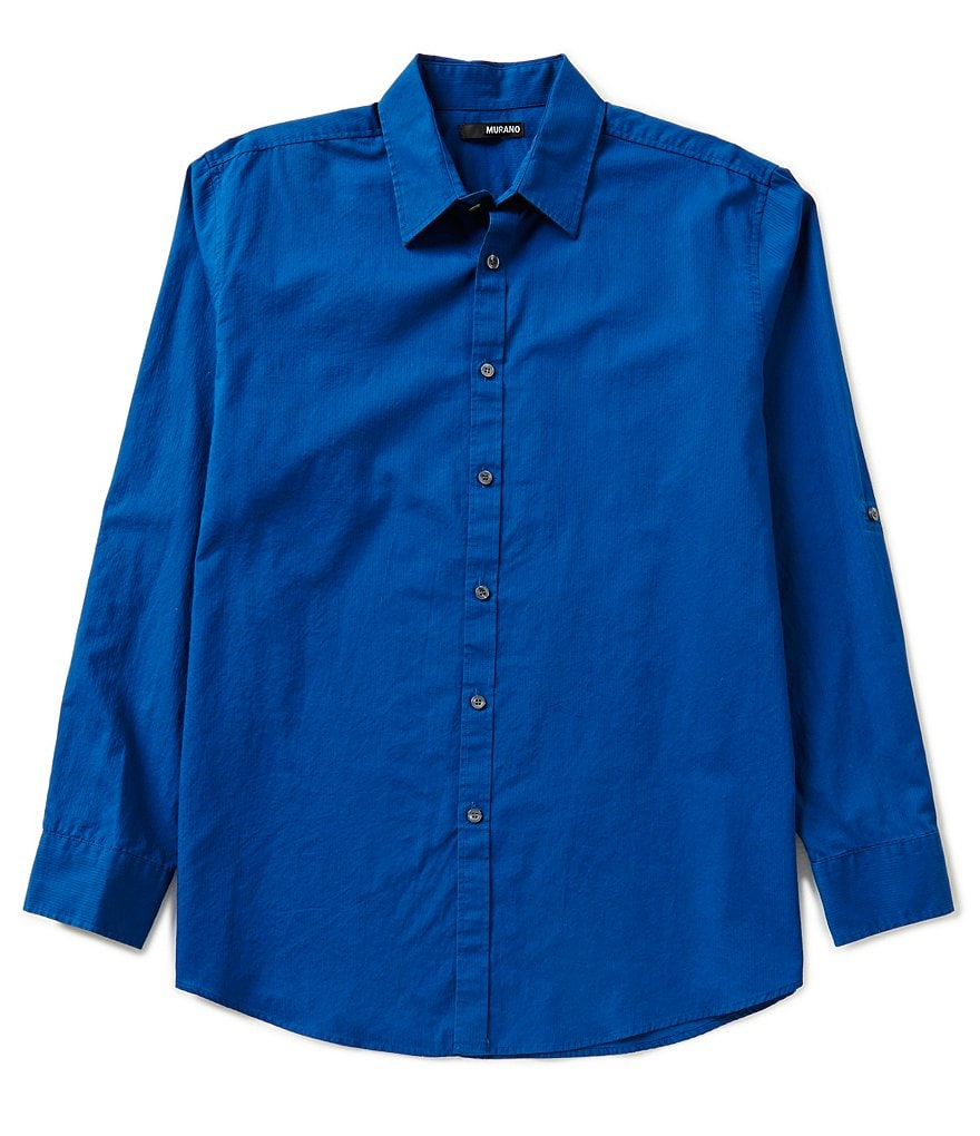 Murano Rolled-Sleeve Solid Texture Sportshirt