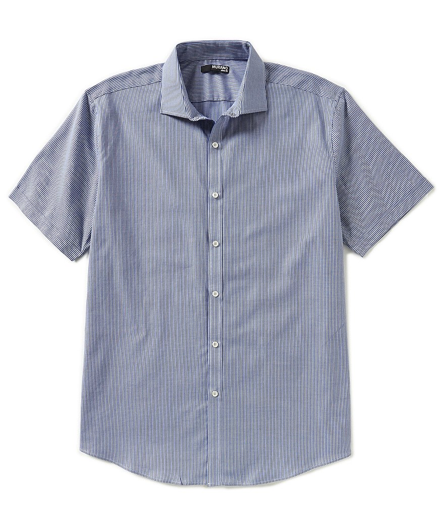 Murano Short-Sleeve Classic-Fit Dobby Striped Sportshirt