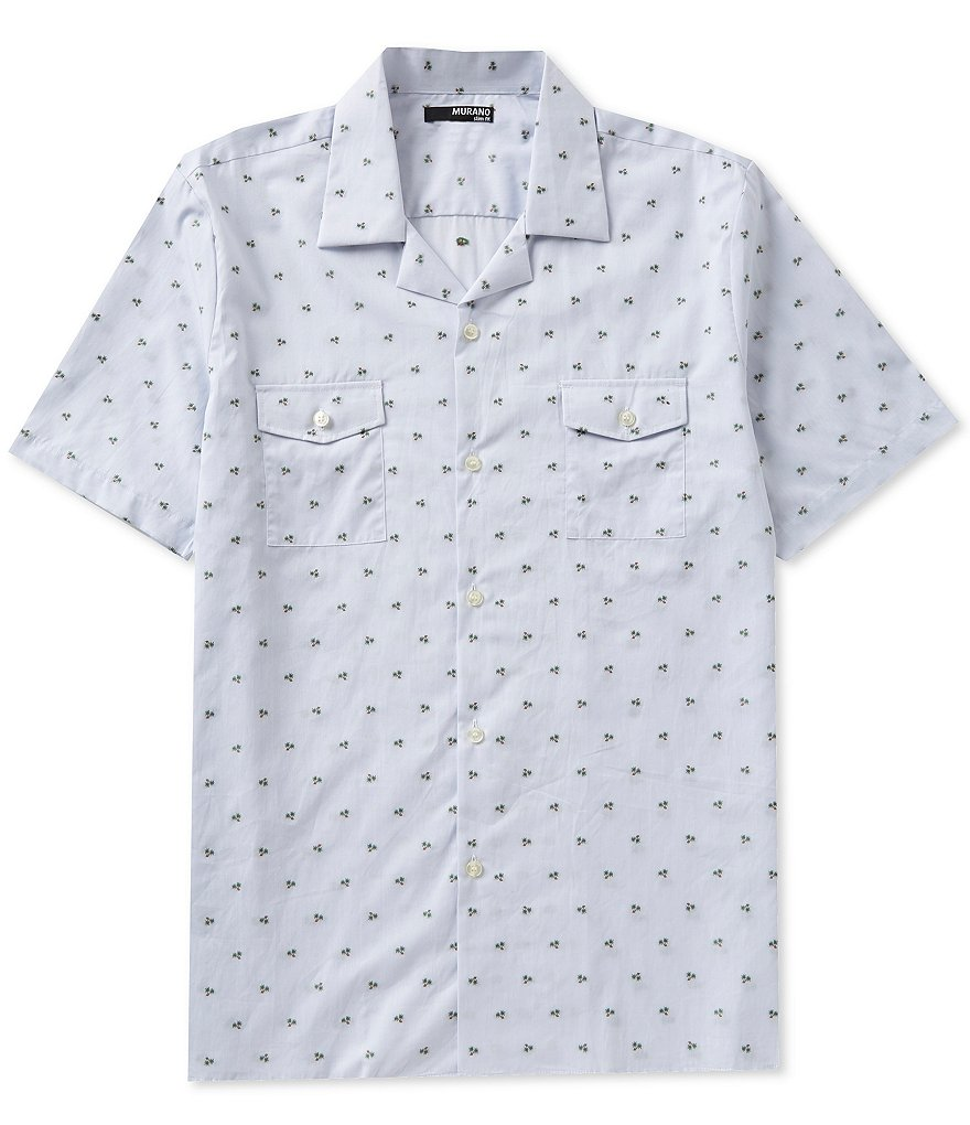 Murano Short-Sleeve Slim-Fit Repeating Palm Tree Camp Shirt