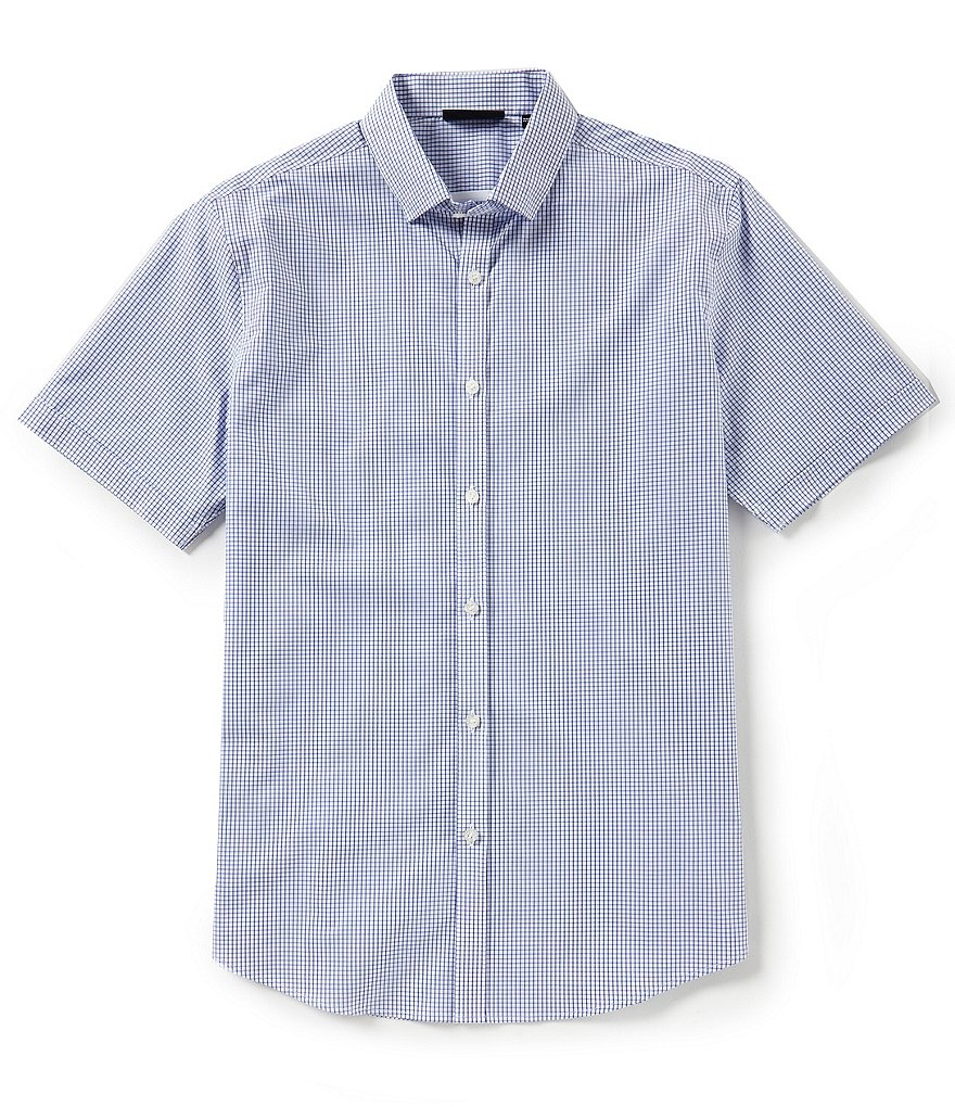 Murano Slim-Fit Mini Check Performance Short-Sleeve Woven Shirt