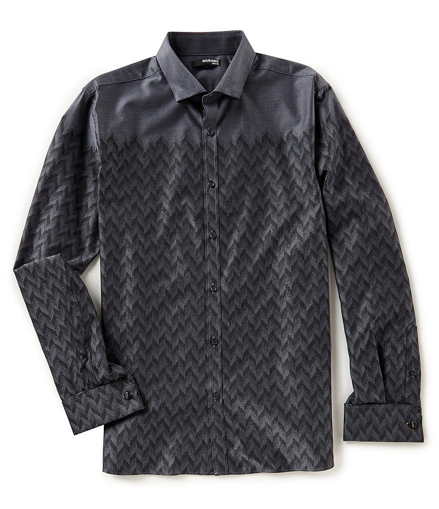 Murano Slim-Fit Herringbone Placed Jacquard Shirt