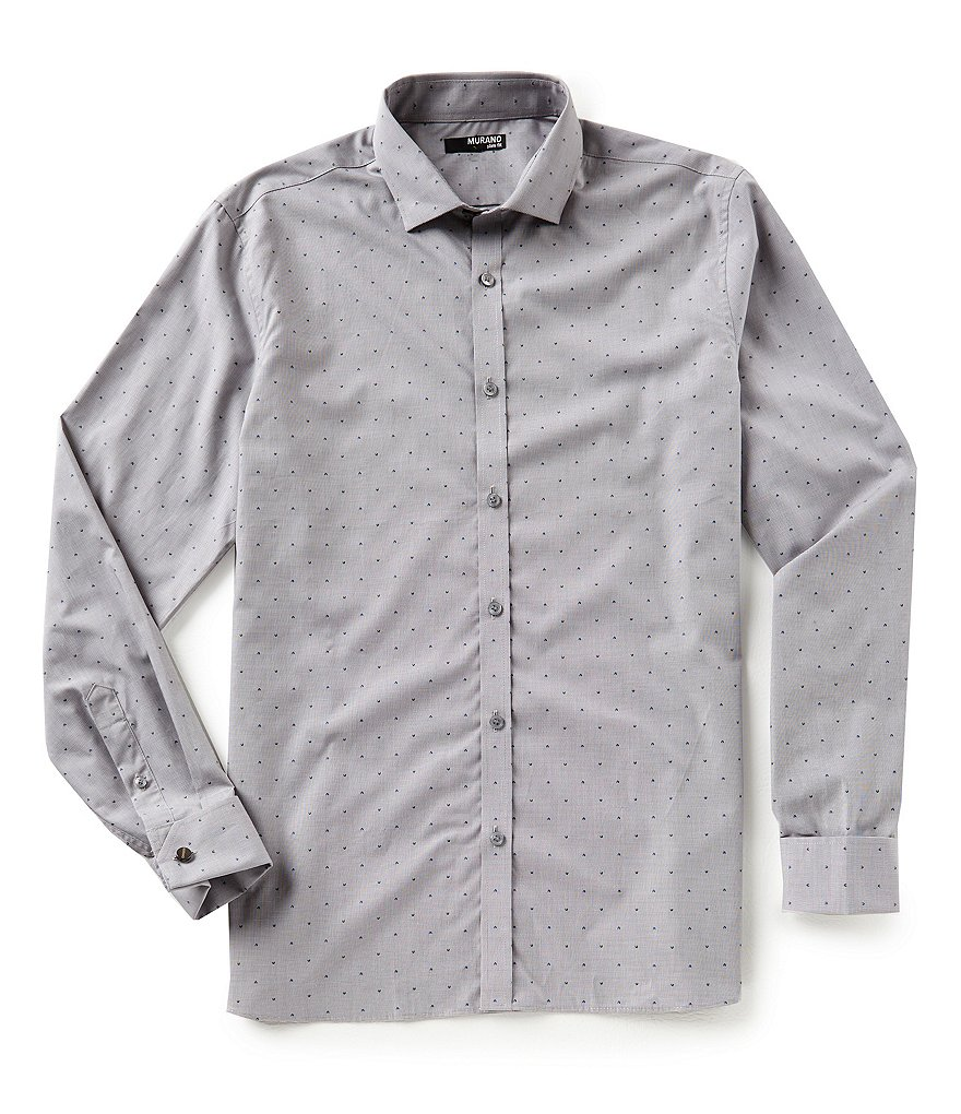 Murano Slim-Fit Houndstooth Clipped Dobby Shirt