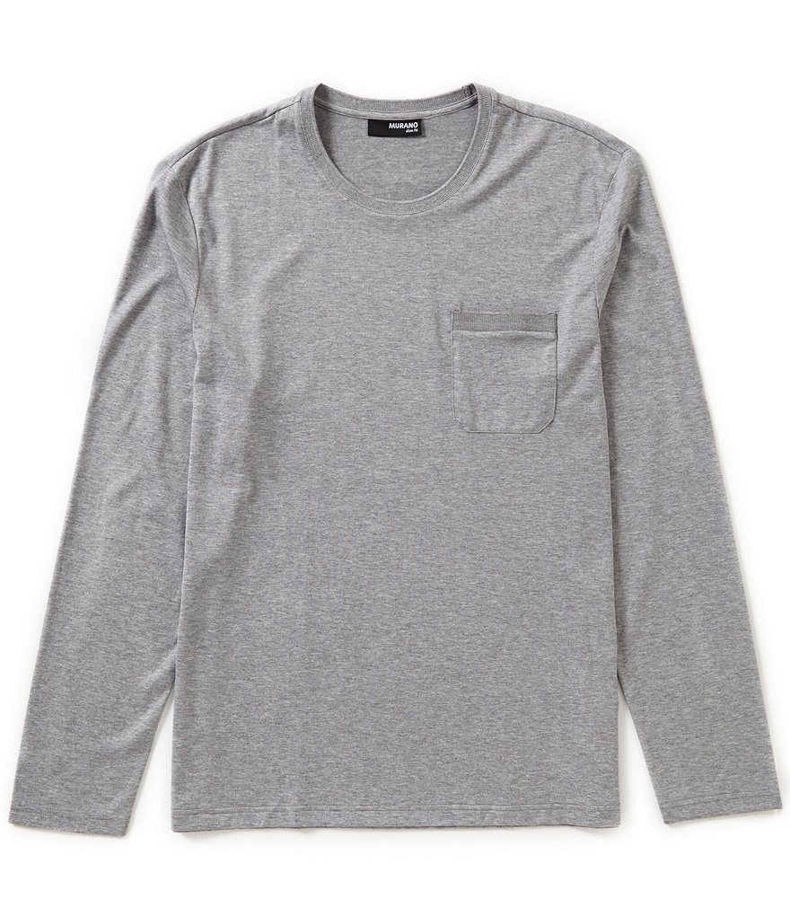 Murano Slim-Fit Solid Long-Sleeve Pocket Crewneck Tee