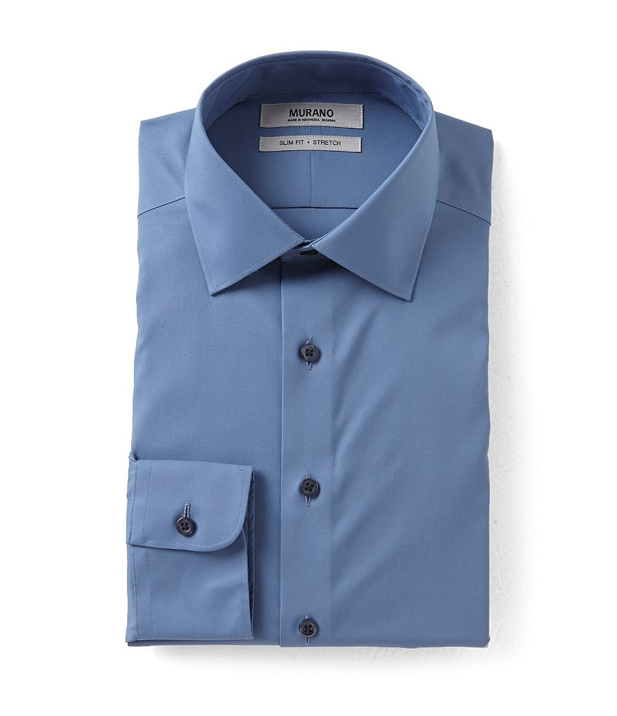 Murano Stretch Slim Fit Spread Collar Solid Dress Shirt