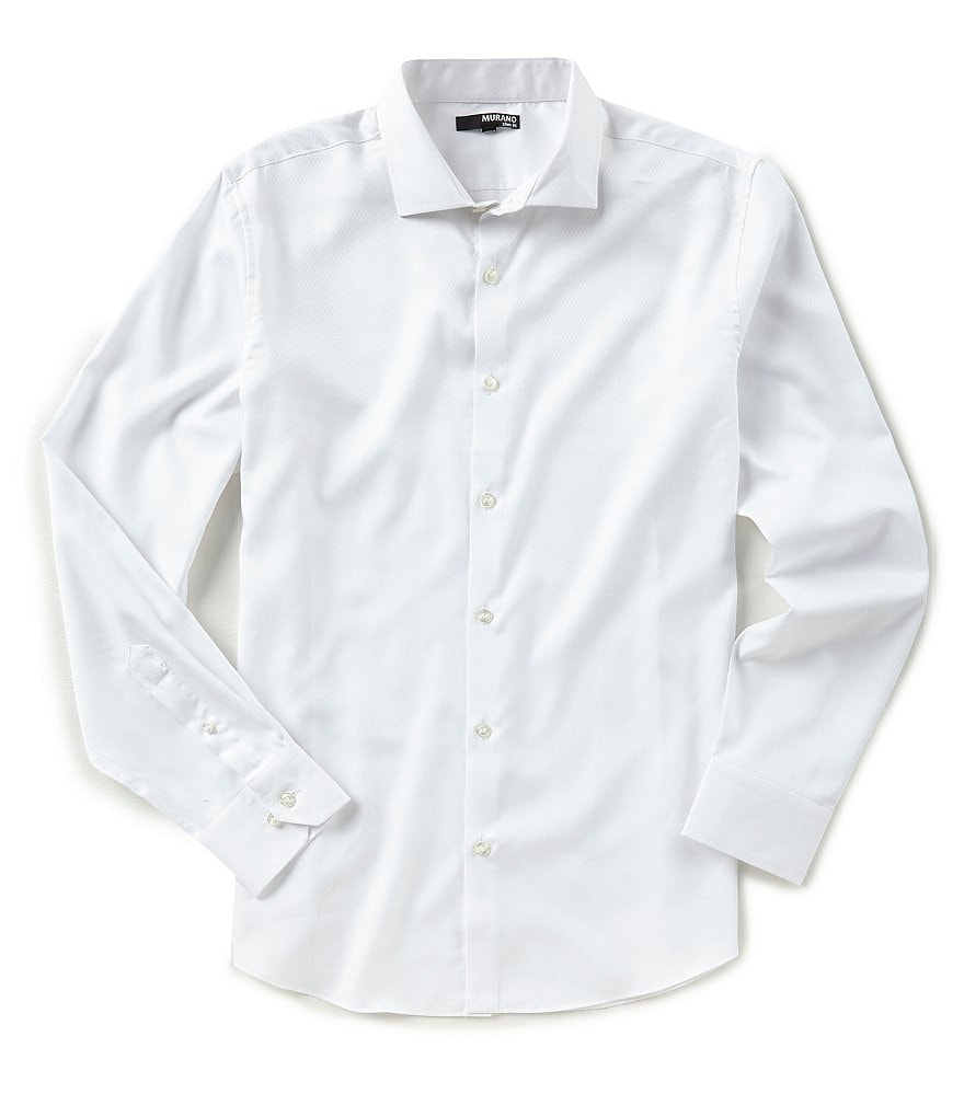 Murano Slim-Fit Spread Collar Solid Long-Sleeve Sportshirt