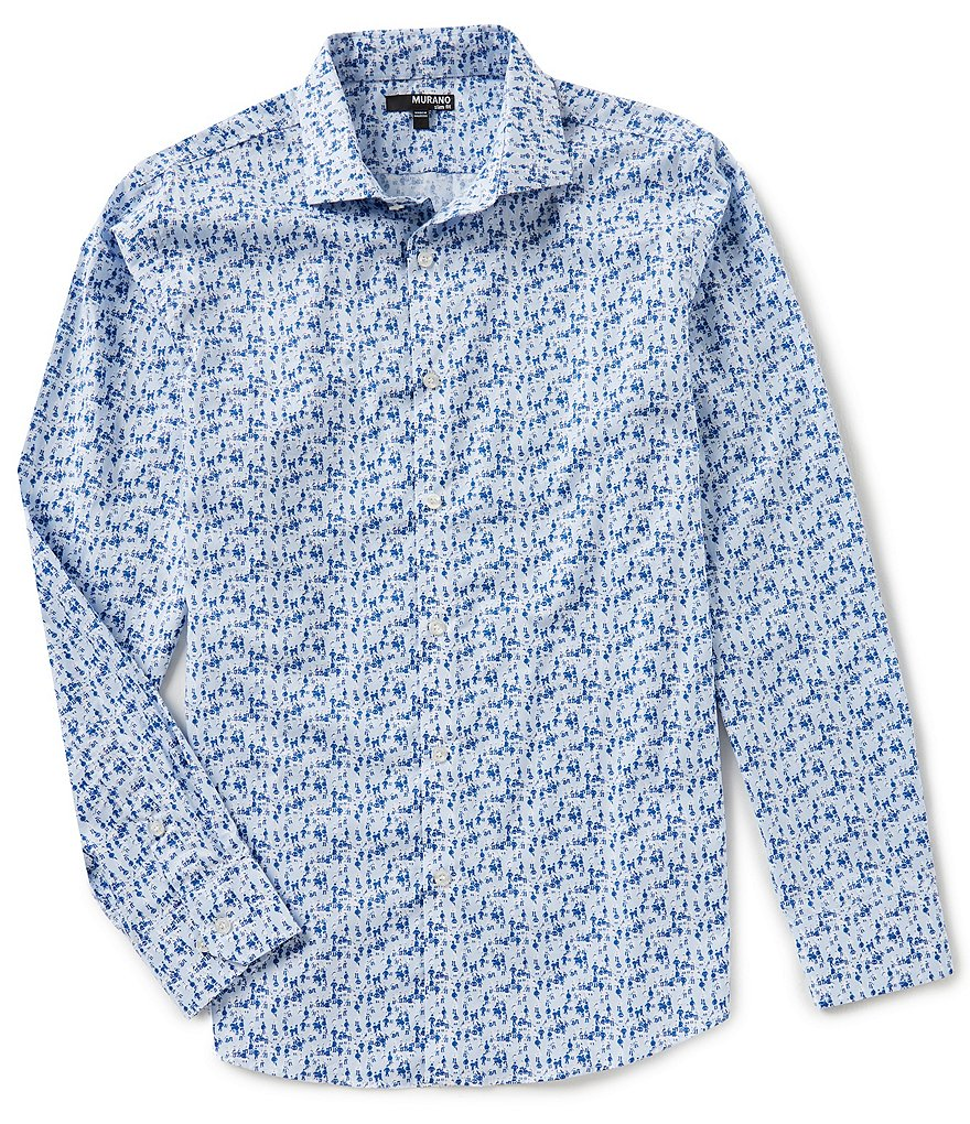 Murano Slim Long Sleeve Spread Collar Bobby Print Woven Shirt