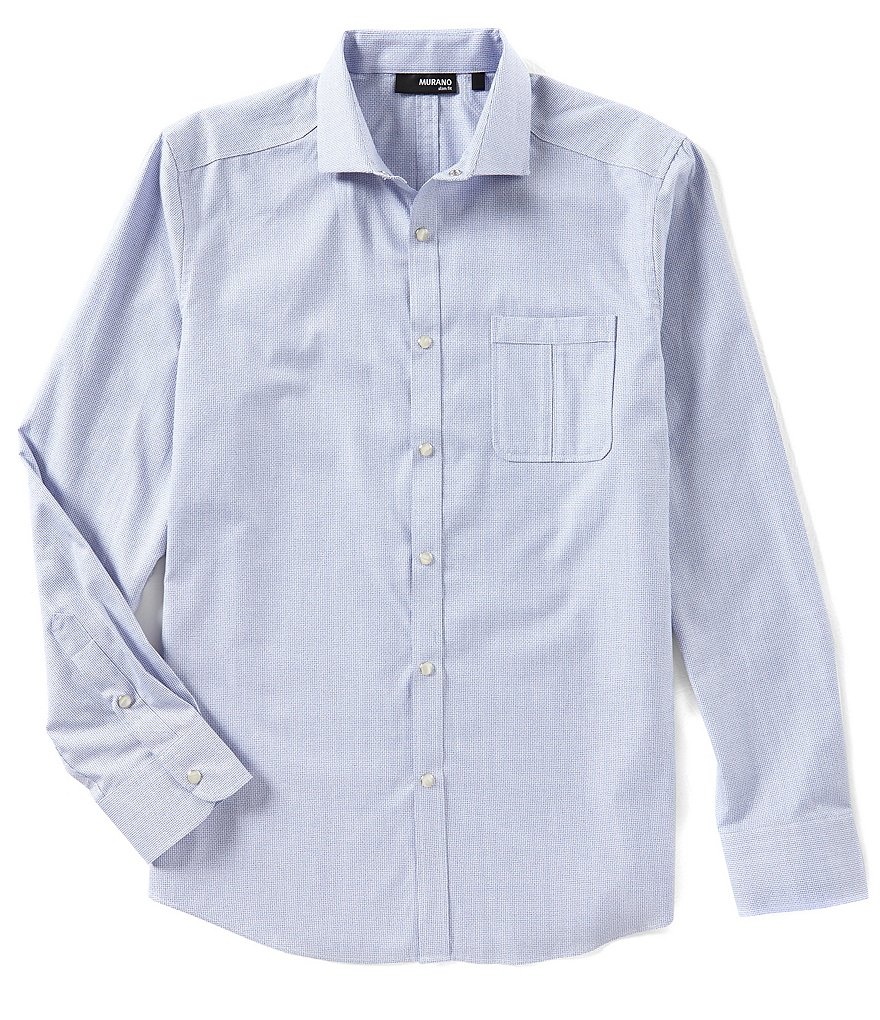 Murano Slim Long Sleeve Spread Collar Dobby Woven Shirt