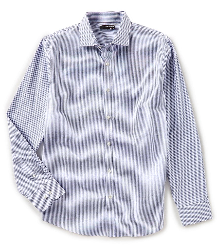 Murano Slim Long Sleeve Spread Collar Gingham Woven Shirt