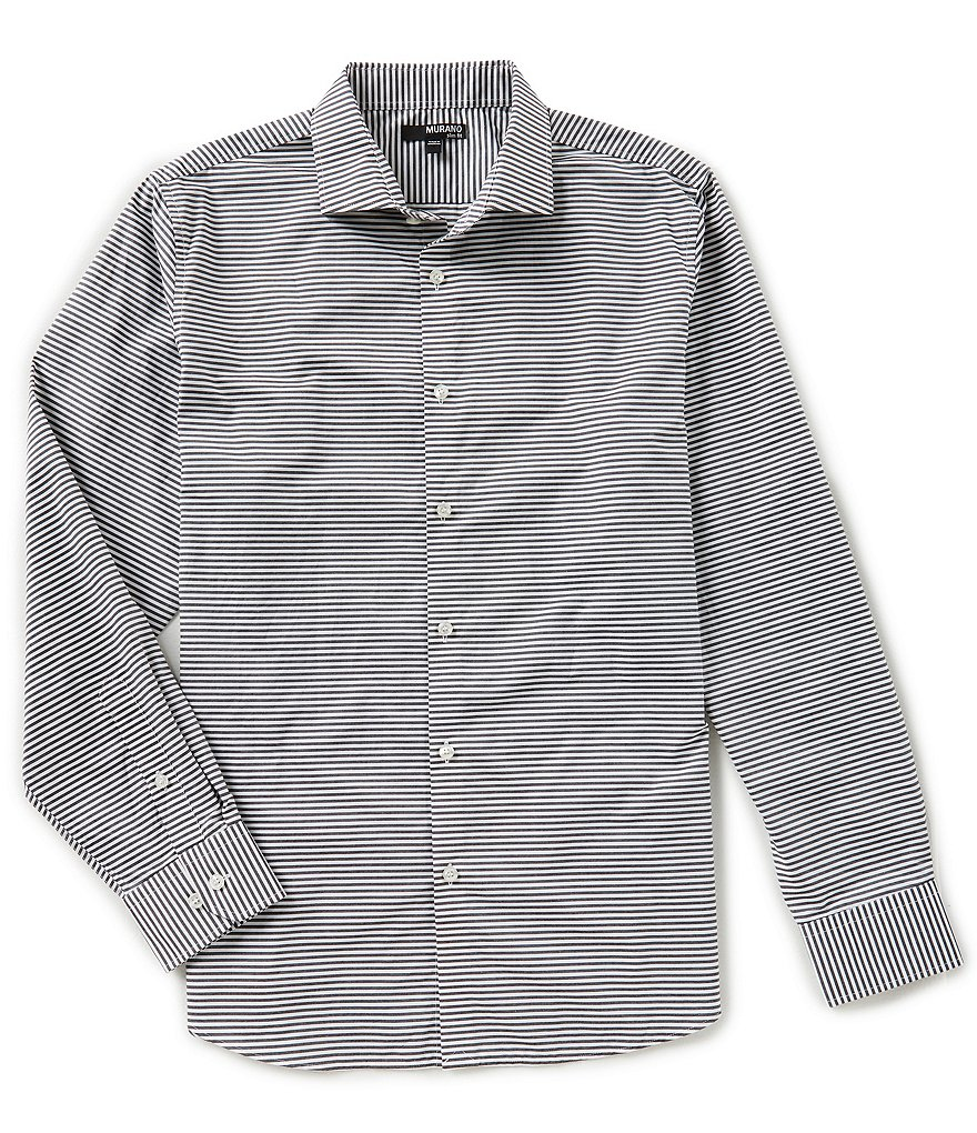 Murano Slim Long Sleeve Spread Collar Horizontal Stripe Woven Shirt