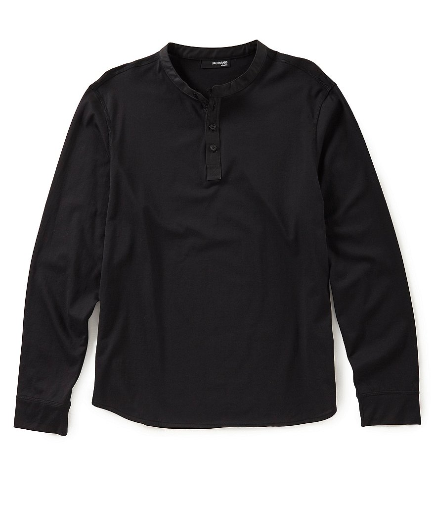 Murano Slim Nylon Trim Henley Knit Shirt