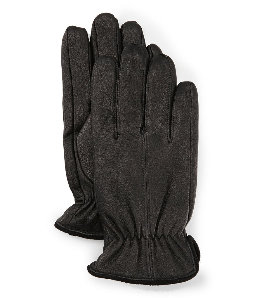 Murano Suede-Trimmed Deerskin Leather Gloves