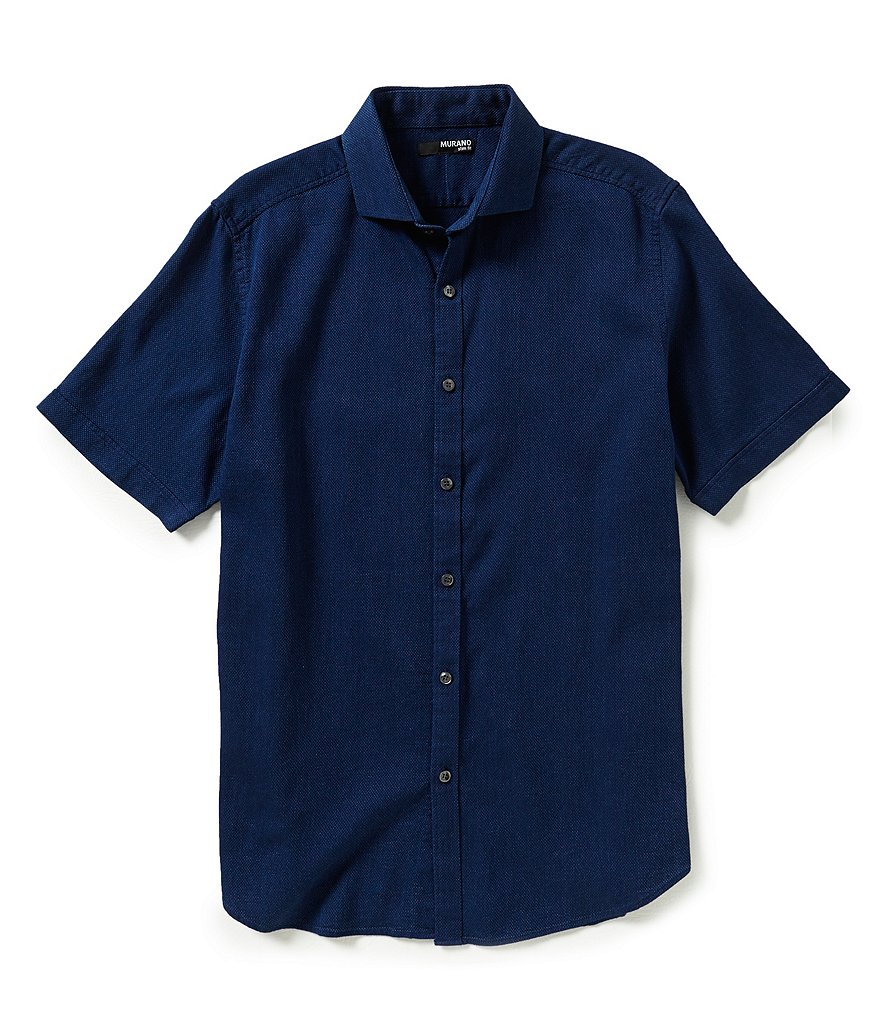 Murano Textured Slim-Fit Short-Sleeve Sportshirt