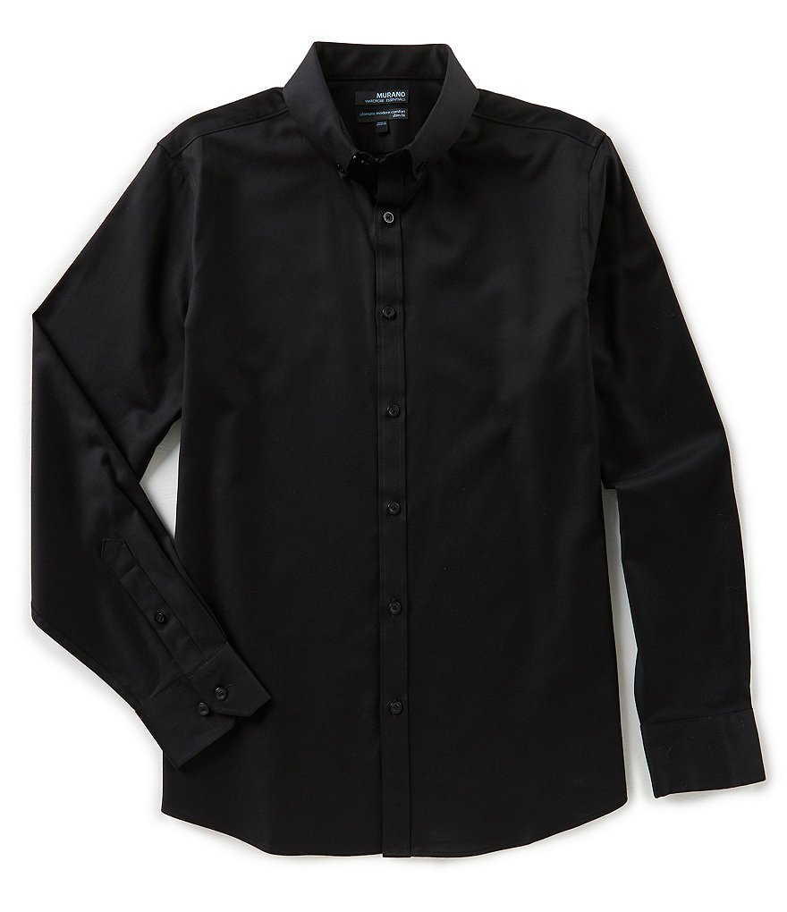 Murano Wardrobe Essentials Slim-Fit Long Sleeve Button Down Collar Woven Shirt