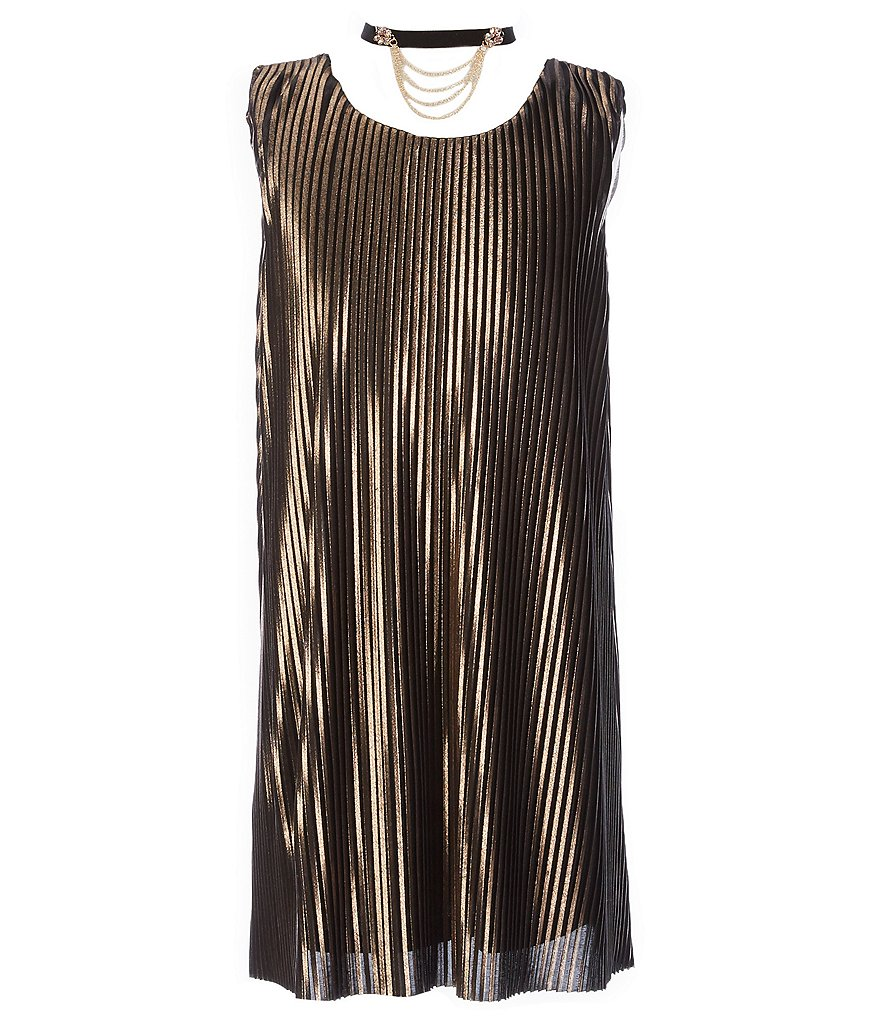 My Michelle Big Girls 7-16 Sleeveless Metallic Pleated Dress