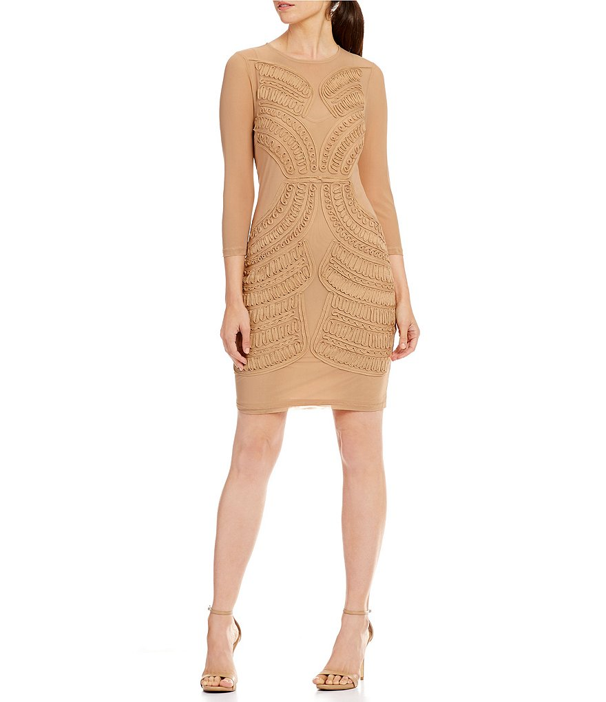 Mystic 3/4 Sleeve Embroidered Sheath Dress