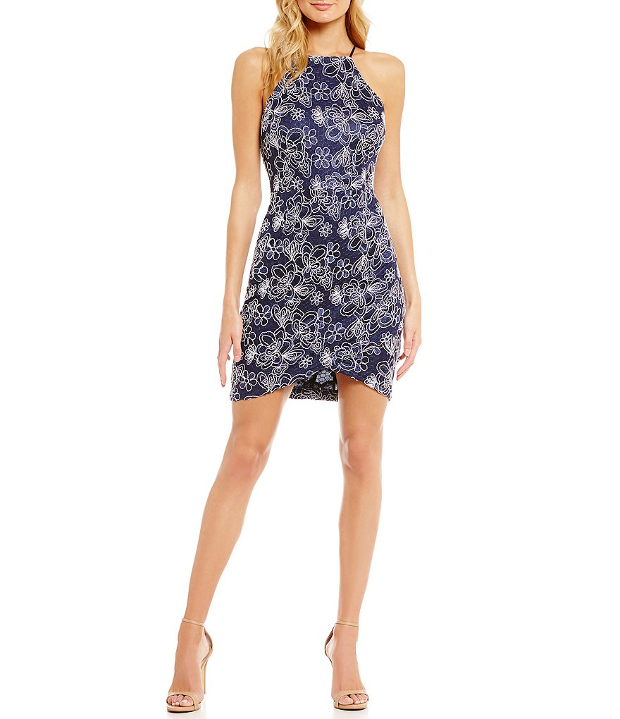 Mystic Floral Lace Envelope-Hem Sheath Dress