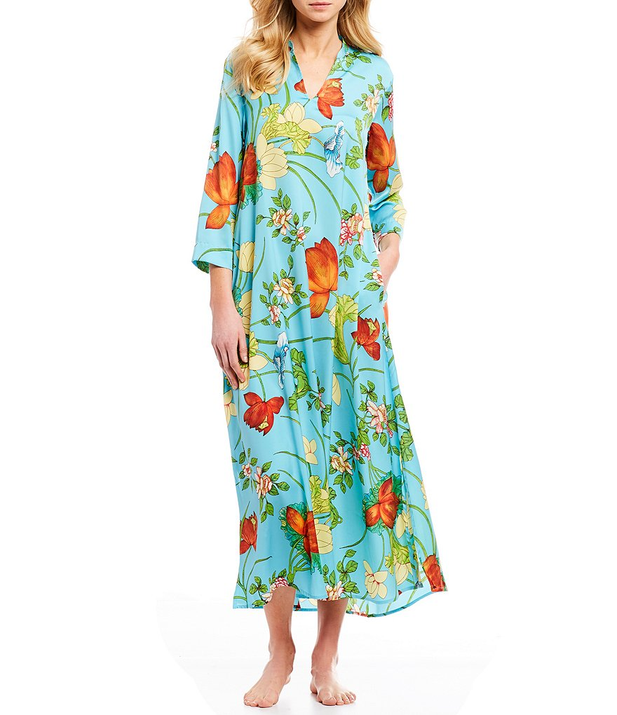 N by Natori Aquarelle Satin Caftan