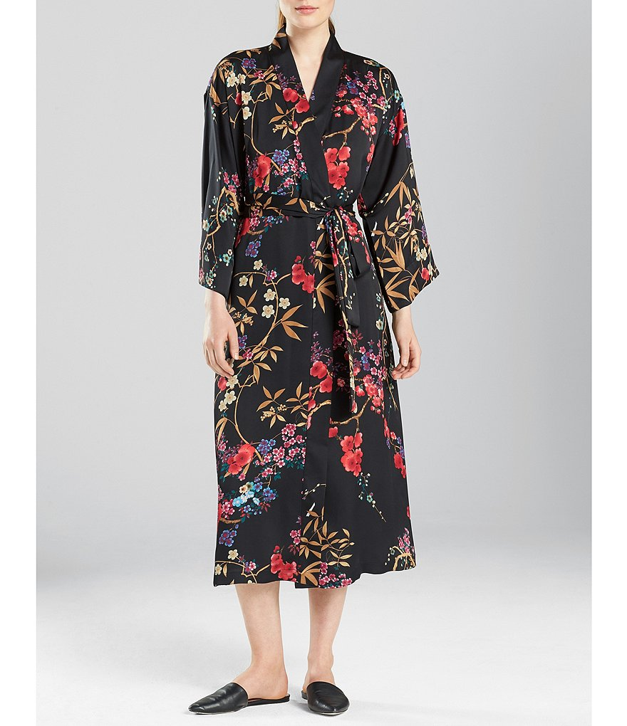 N by Natori Eden Floral Satin Short Wrap Robe
