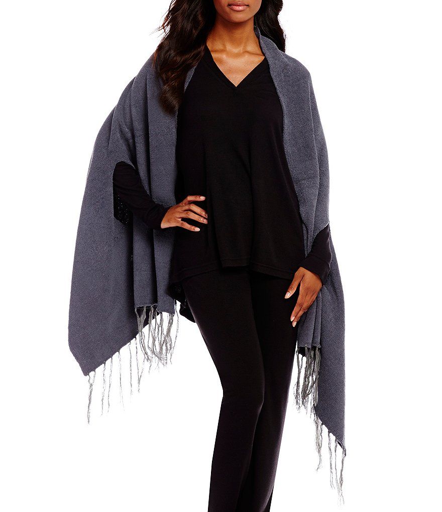 N by Natori Fringed Blanket Shawl