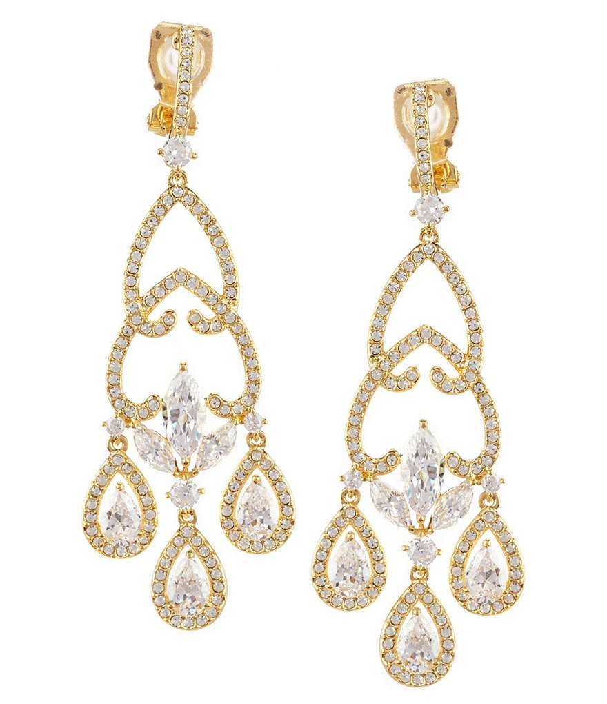 Nadri Faux-Crystal Clip-On Chandelier Statement Earrings