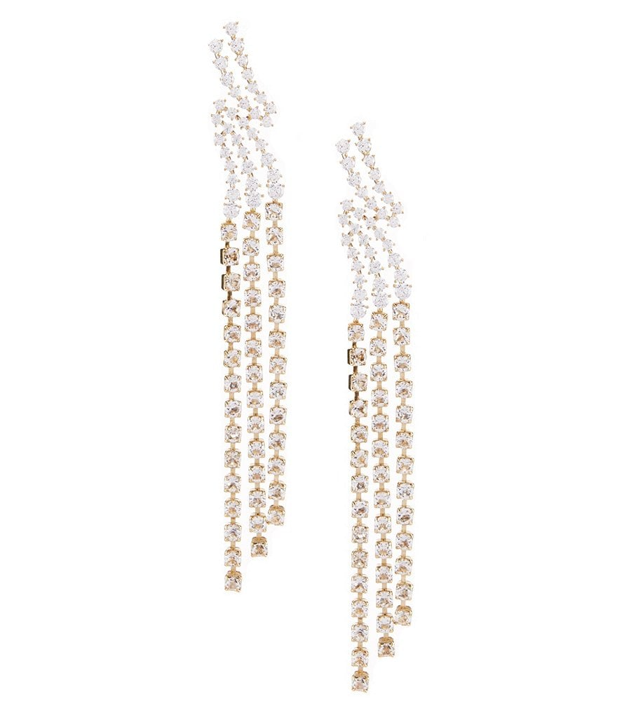 Nadri Cubic Zirconia Bypass Fringe Statement Earrings