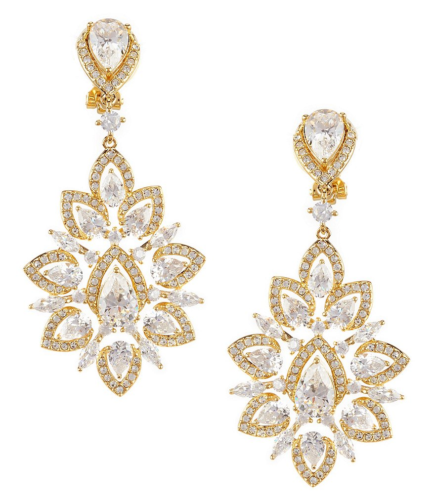Nadri Cubic Zirconia Clip-On Statement Drop Earrings