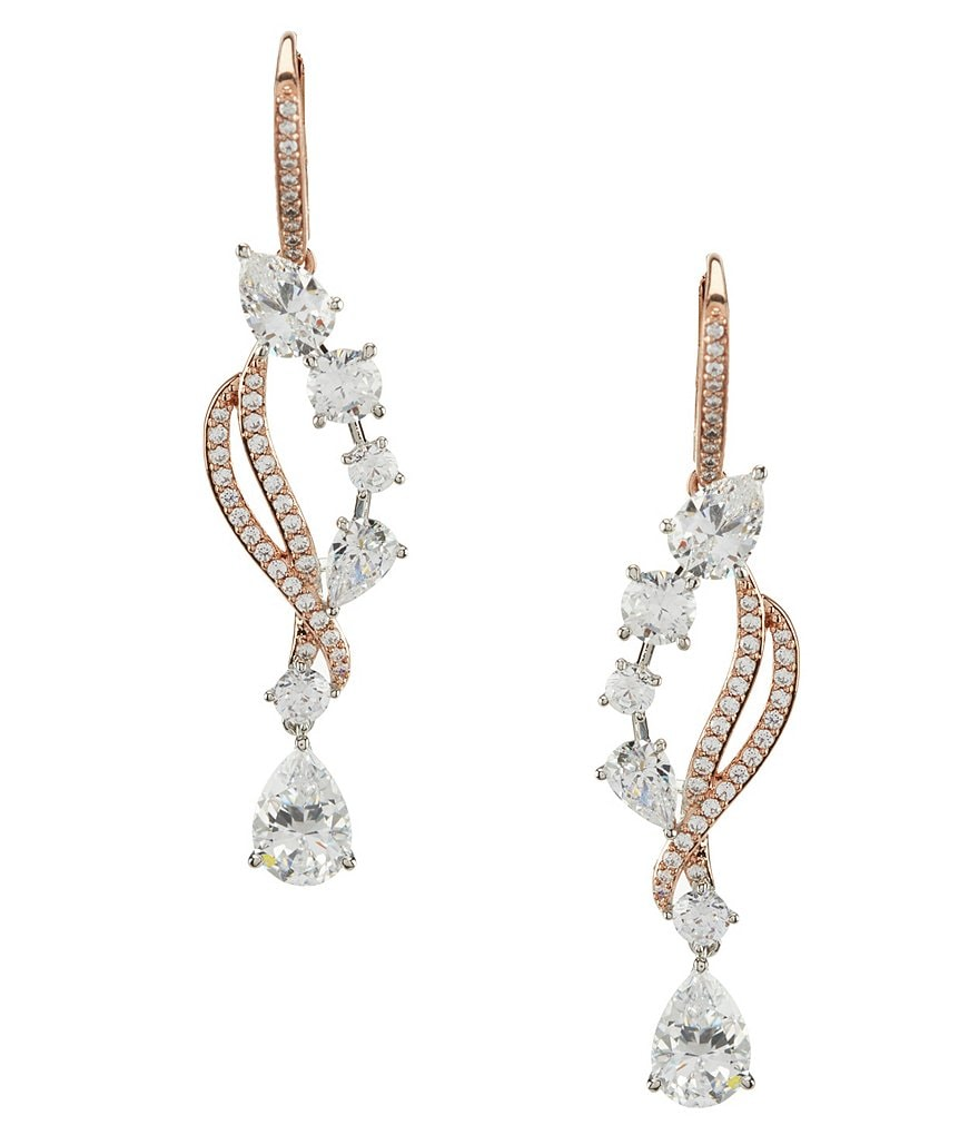 Nadri Duet Cubic Zirconia Teardrop Statement Earrings