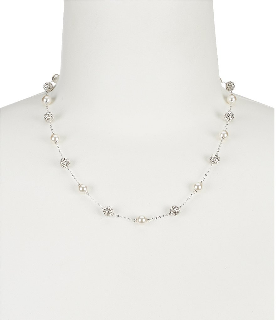 Nadri Faux-Pearl & Fireball Collar Necklace