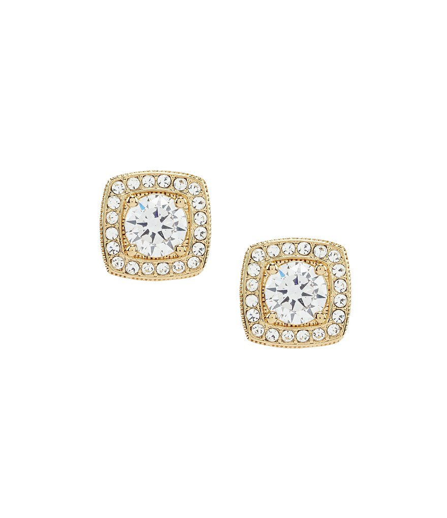 Nadri Goldtone Framed CZ Stud Earrings