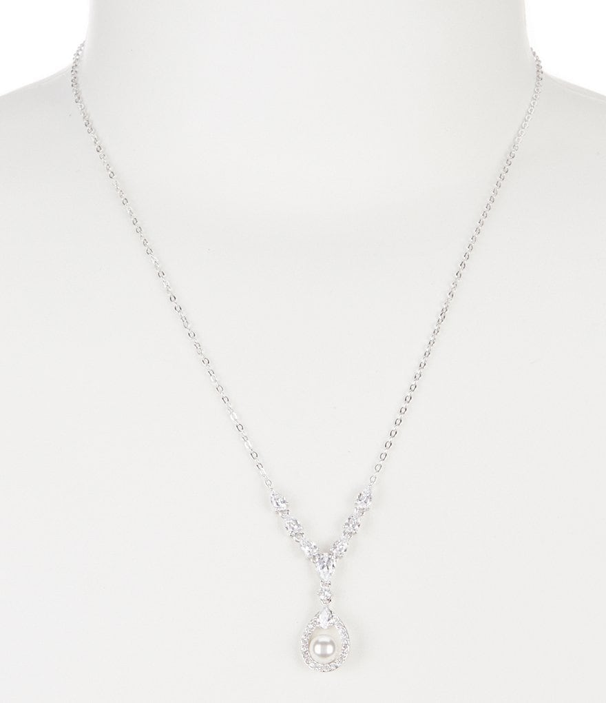 Nadri Lily Faux-Pearl & Crystal Y-Necklace